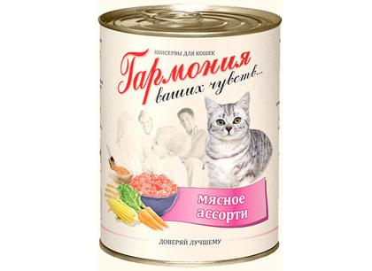 Корм для кошек Гармония мясное ассорти 415 г ж/б фото