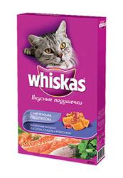 Подушечки Whiskas для взрослых кошек. Морское ассорти с лососем, тунцом и креветками фото