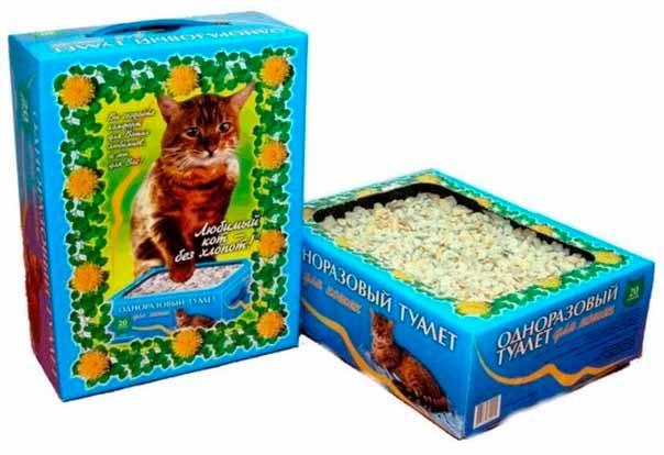Одноразовый лоток с наполнителем Любимый кот без хлопот фото