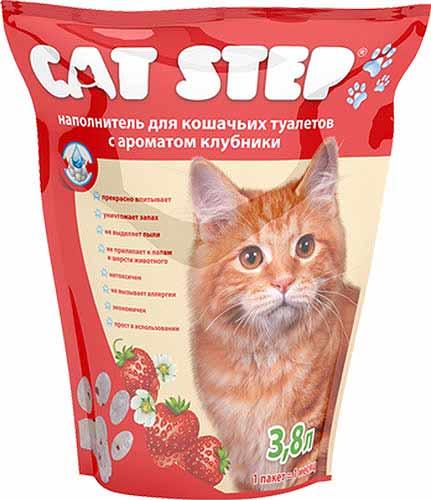 Наполнитель Cat Step силикагелевый с ароматом клубники фото