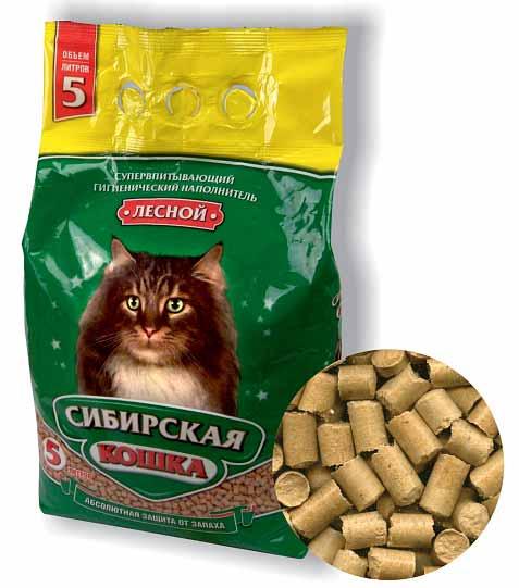 Наполнитель Сибирская кошка Лесной древесный фото