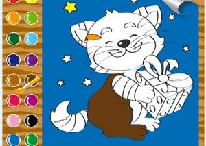 Раскрась котенка фото