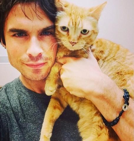 Иен Сомерхолдер и его кот Моук фото