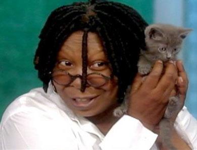 Вупи Голдберг и ее котенок Винни фото