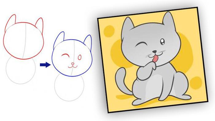 Рисуем поэтапно умывающегося кота фото