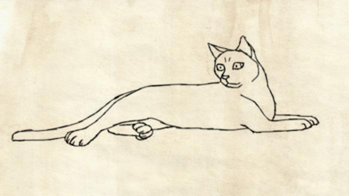 Рисуем лежащую кошку поэтапно фото