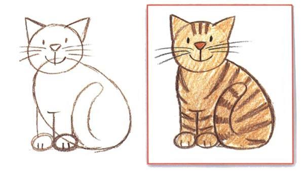 Рисуем поэтапно карандашом сидячего кота фото
