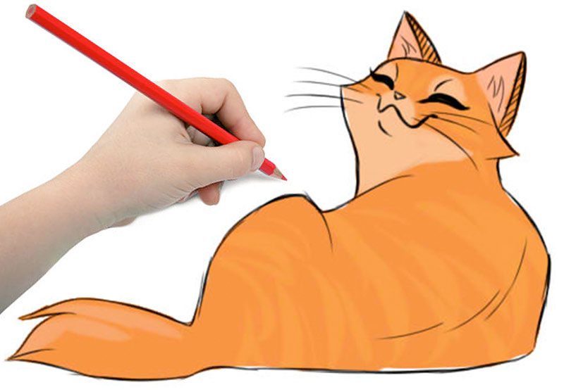 Рисунок ленивой кошки фото
