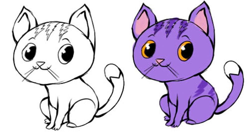 Мультяшный рисунок кошки фото