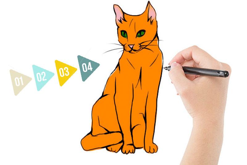 Реалистичный рисунок кошки фото