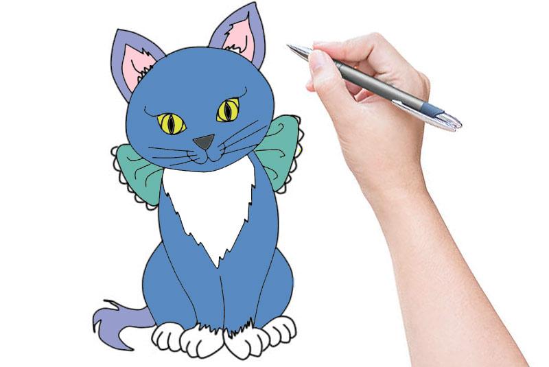 Простейший рисунок кошки пошагово фото