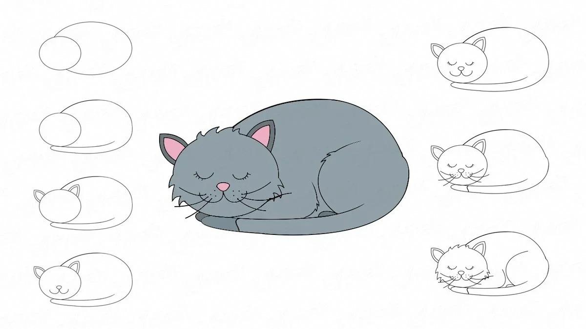 Спящая довольная кошка. Рисуем поэтапно карандашом легко и красиво фото