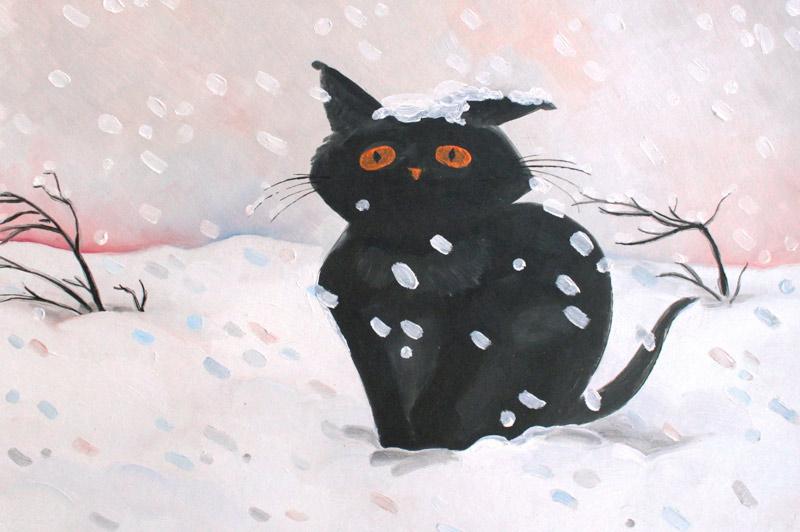 Котенок в снегу фото